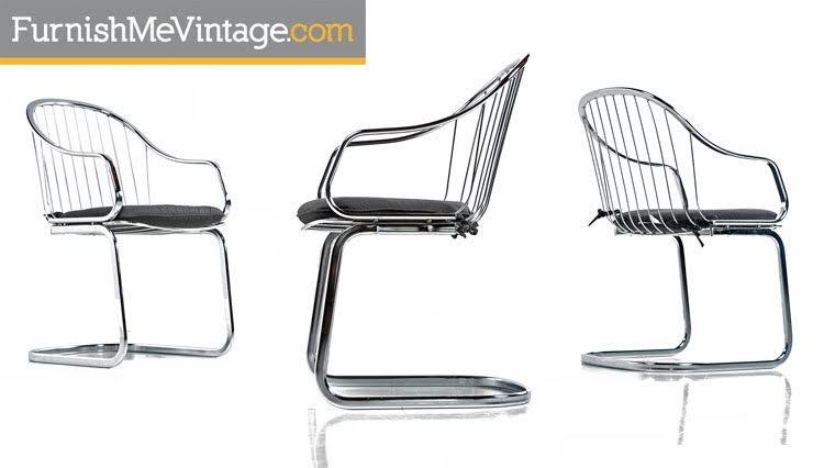 Gastone Rinaldi Style Chrome Wire Frame Dining Chairs Made