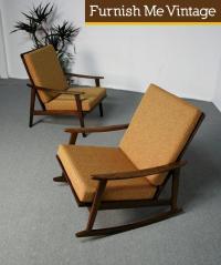 Mid Century Modern Italian Lounge Chair & Rocking Chair