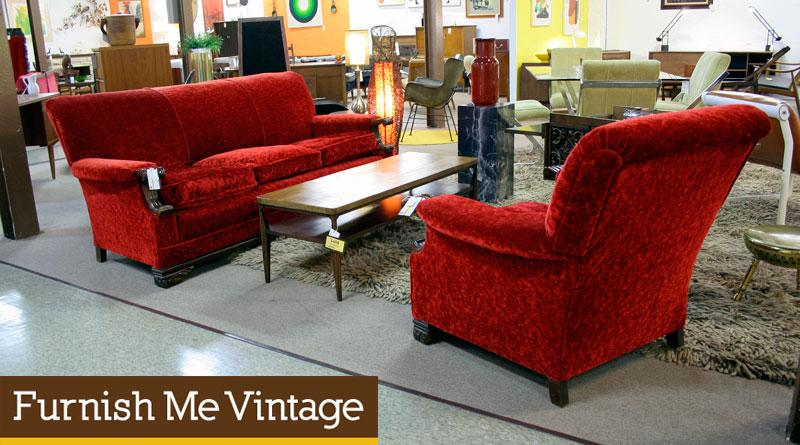 vintage living room sets kitchen extension ideas red velvet sofa and chair set