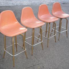 Fiberglass Shell Chair Red Architects Vintage Bar Stools
