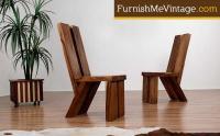 Pair of Chamcha Wood Slab Chairs