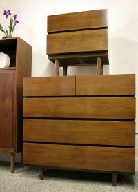 Bedroom Dresser & 2 Nightstands Mid Century American of ...