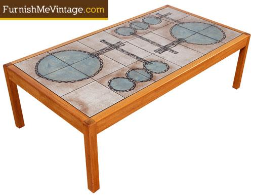vintage gangso mobler teak tile top coffee table