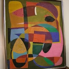 Sofa Table Long Narrow Sleeper Assembly Instructions Mid Century Modern Abstract Geometric Painting