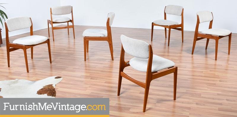 danish modern dining chairs folding chair covers at walmart set of six benny linden teak vintage scandinavian