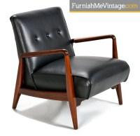 Black Leather Mid Century Modern chair