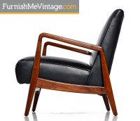 Jens Risom Lounge Chair Restored in Black Tufted Leather