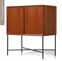mid century modern cabinet on wrought iron base