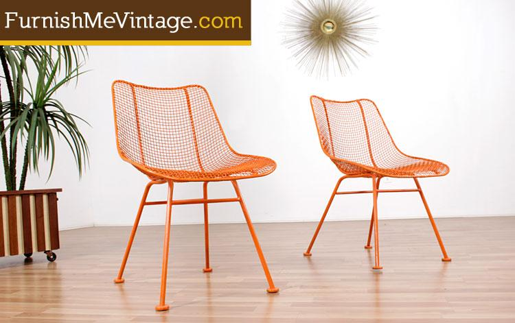 pair of mid century modern russell woodard outdoor patio chairs