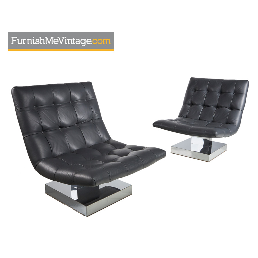 leather chrome chair p pod accessories baughman gray tufted base scoop lounge set modern milo grey chairs
