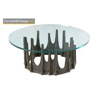 Paul Evans Stalagmite Glass Top Brutalist Signed Coffee Table