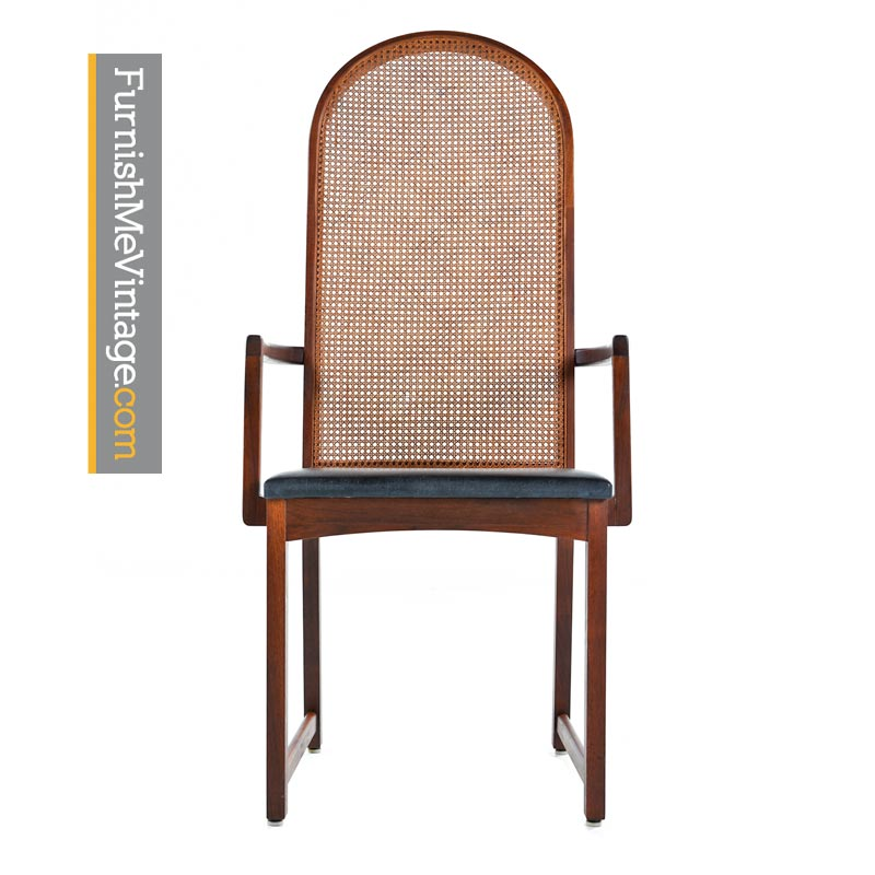 Milo Baughman for Dillingham Walnut Cane Back Dining