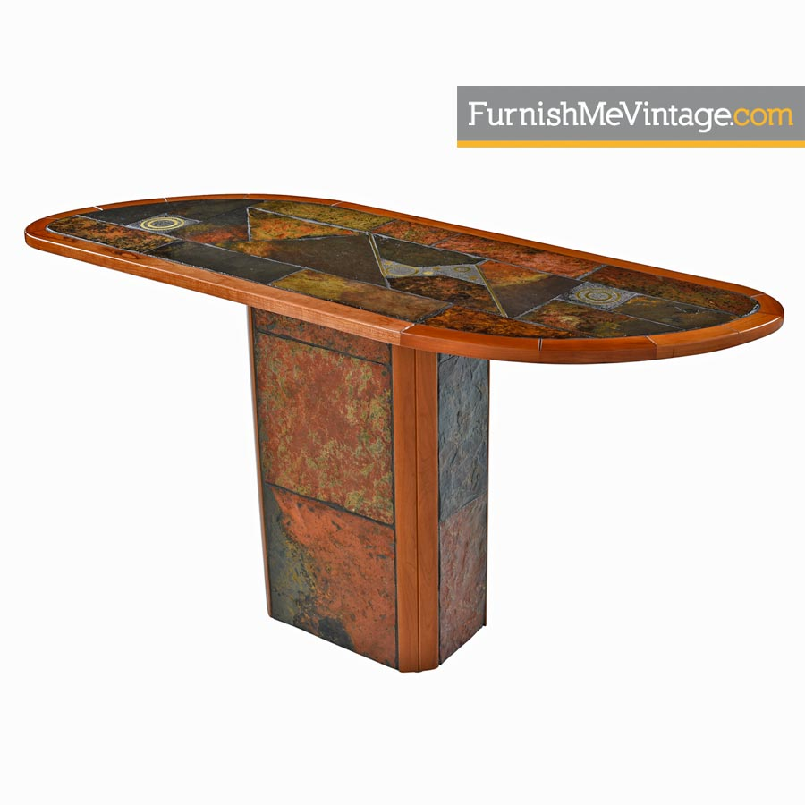 teak sofa table small sectional sleepers paul kingma style pedestal console made in south africa slate craft brutalist african cherry wood