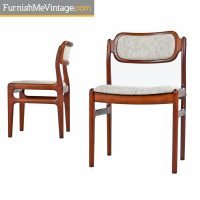 Vintage Danish Modern Rosewood Dining Chairs with beige ...