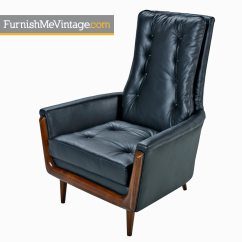 High Back Tufted Chair Menards Patio Glides Restored Adrian Pearsall Style Black Leather Highback Lounge Vintage Modern