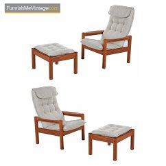 Teak Lounge Chair Round Patio Domino Mobler Ottoman Scandinavian Modern