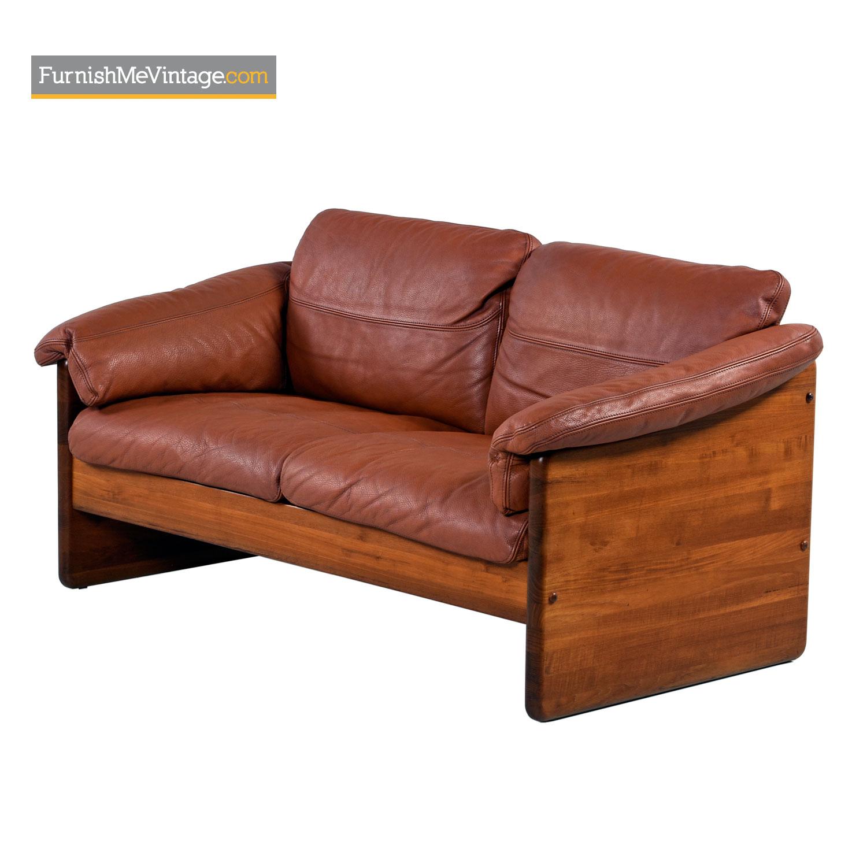 Mikael Laursen 2 Seat Solid Teak Danish Loveseat Leather Sofa