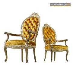 Velvet Tufted Chair Nathan Teak Dining Chairs Uk Louis Xv Style Hollywood Regency Gold Deep Armchairs
