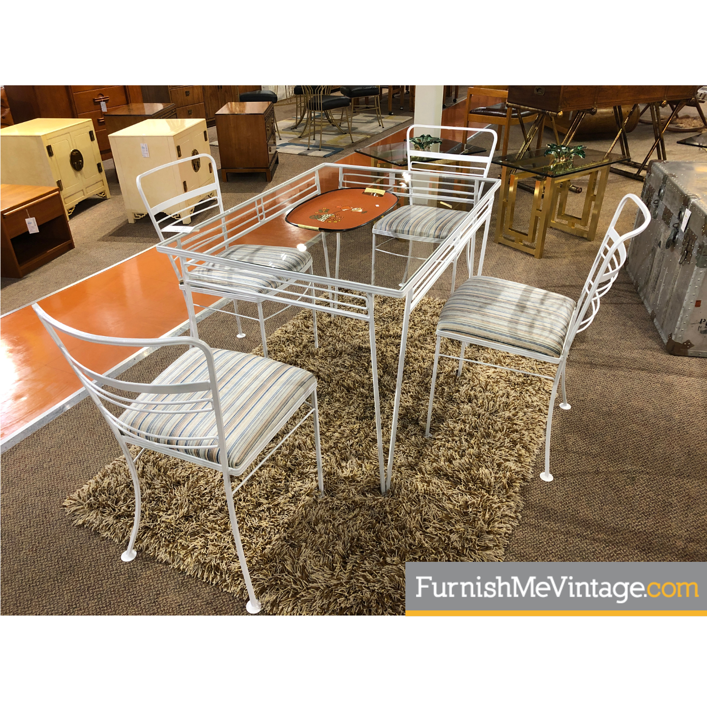 vintage white wrought iron patio outdoor dining set