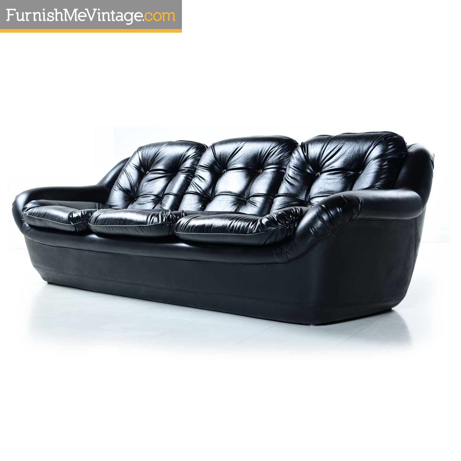 Black Vinyl Tufted Mid Century Modern Sofa With Chorded Buttons