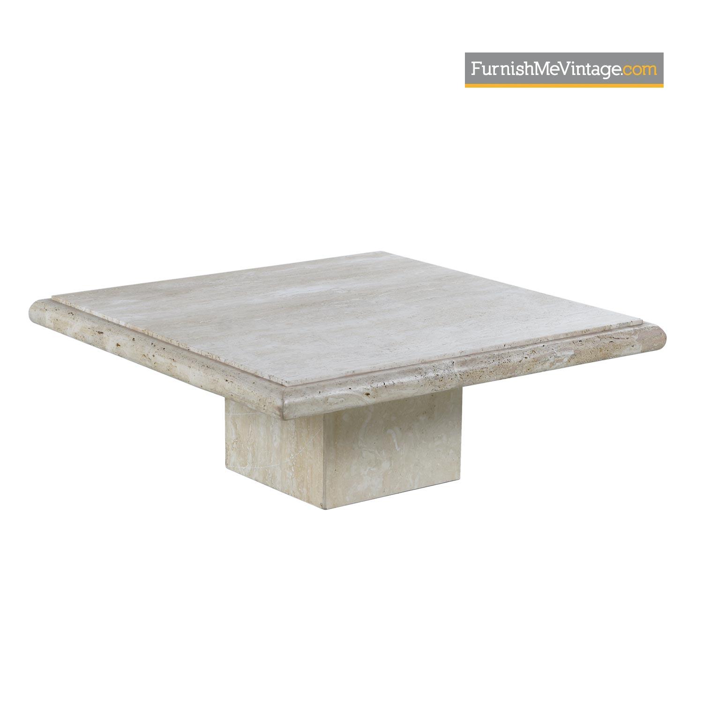maitland smith style italian travertine square stone pedestal coffee table