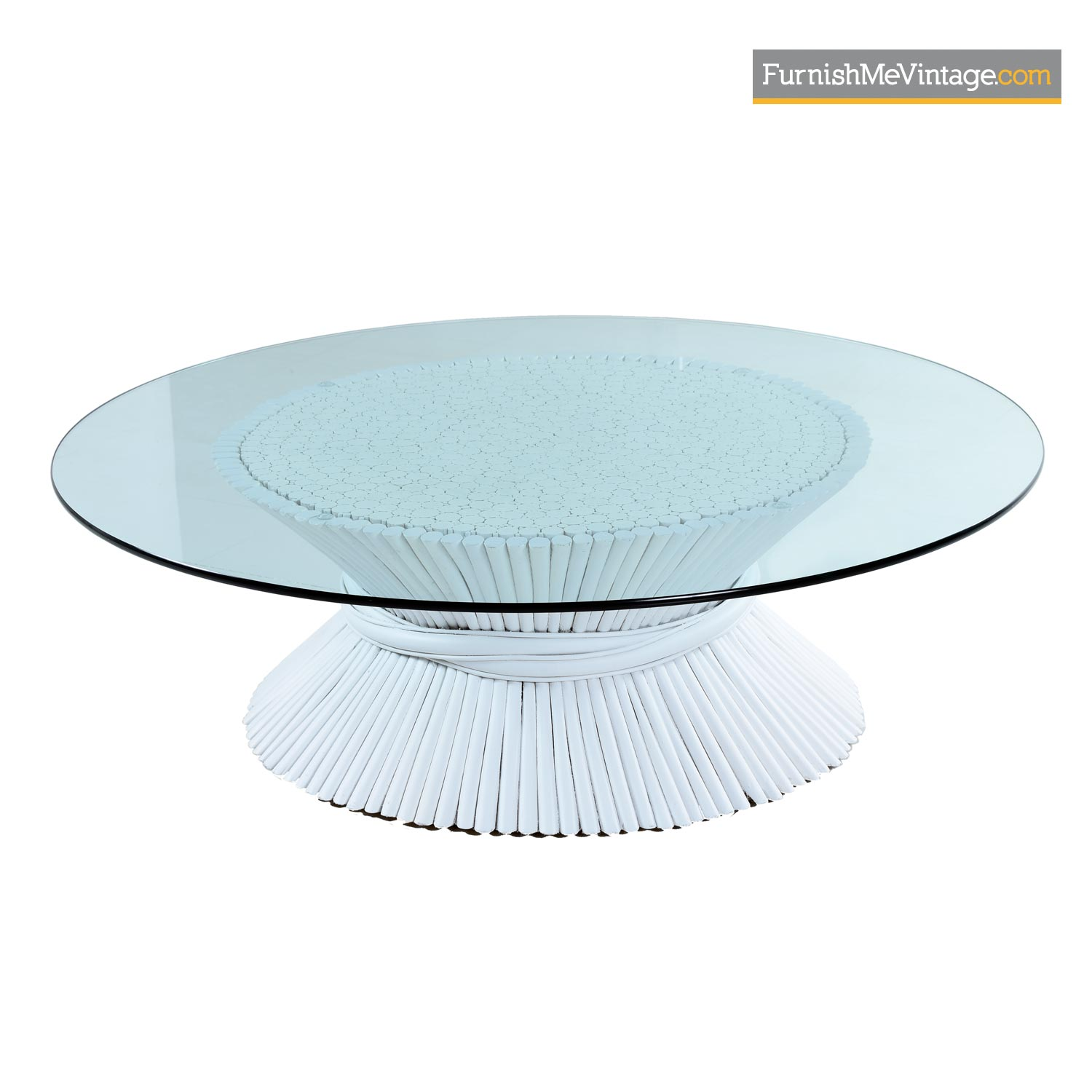 mcguire white rattan wheat sheaf coffee table with round glass
