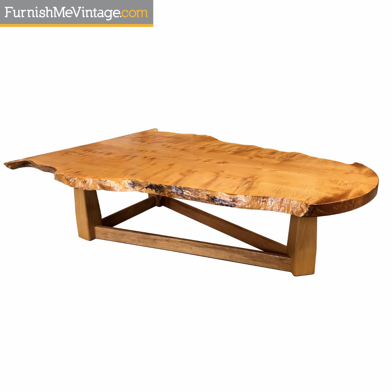birdseye maple modern live edge slab coffee table