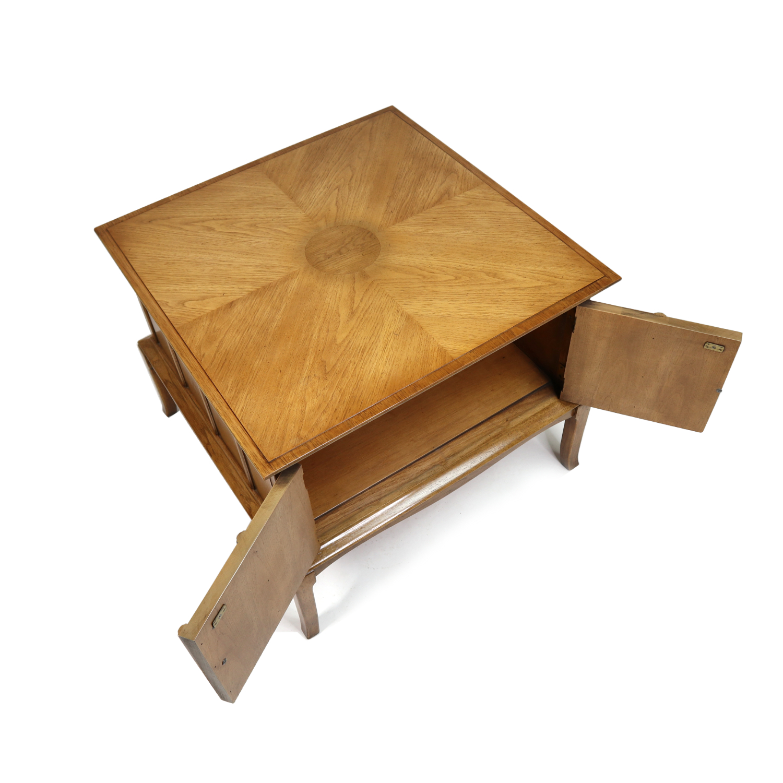 thomasville horizon pecan end table cabinet