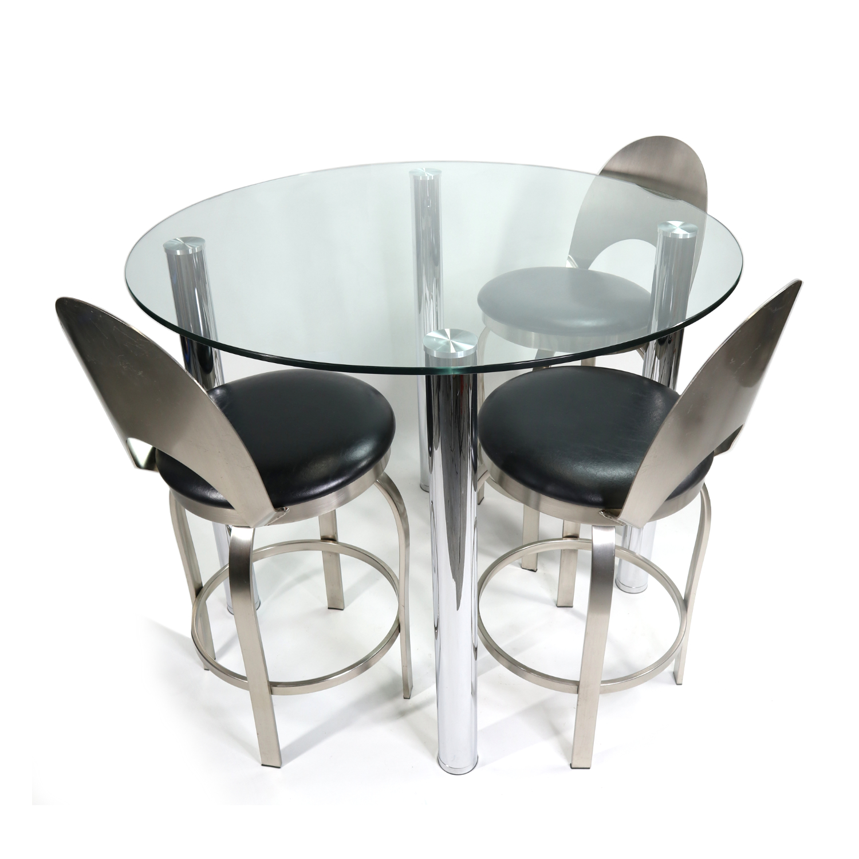Modern Round Glass Chrome Leg Bar Height Pub Height Dining Table