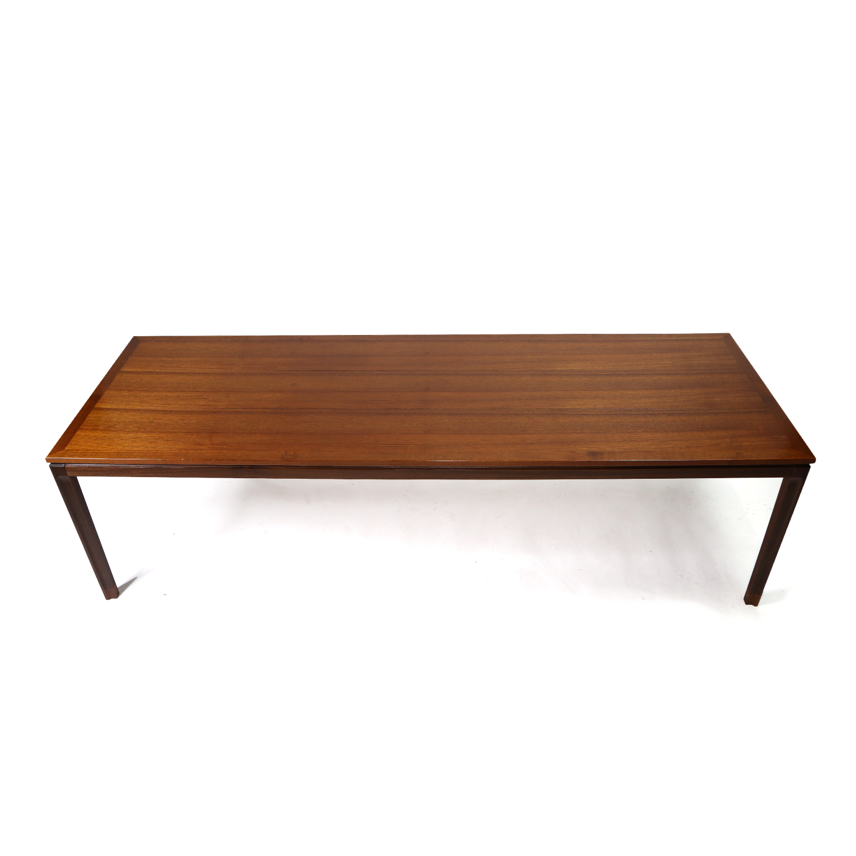 rectangular mid century modern long narrow danish teak coffee table