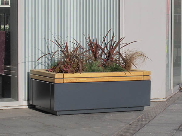 Railroad Timber And Steel Planter