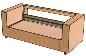 שלושה ממדי הדגם של מסגרת הספה עם קצף