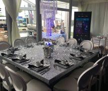 Glitter 6ft Square Dining Table - Furniture4events