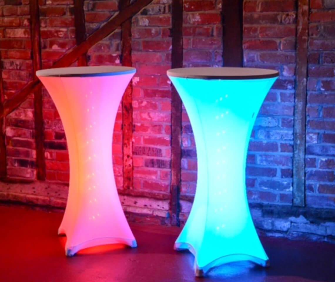 Spandex Illuminated Poseur Table  Furniture4Events