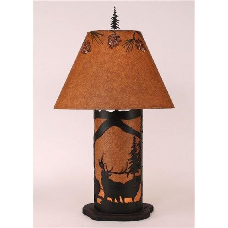 Small Table Lamp with Metal & Parchment Shade