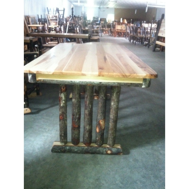 Rustic Hickory Trestle Style Dining Table  Choose from 60