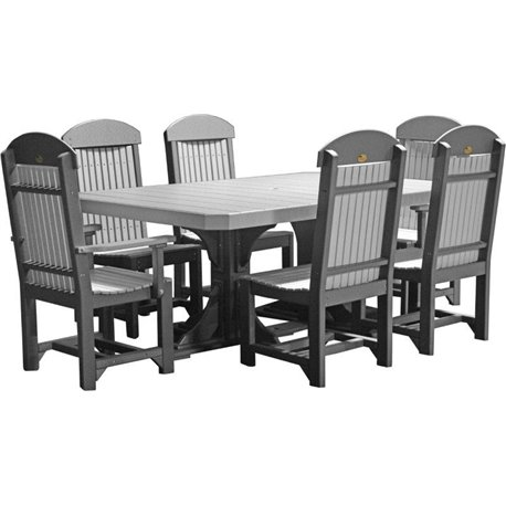 white 6 chair dining table black kitchen chairs poly 4x6 regtangle double pedestal set luxcraft colors dove gray slate height