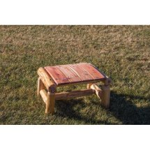 Red Cedar Log Outdoor Foot Stool