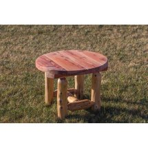 Red Cedar Log Outdoor Side Table