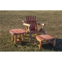 Red Cedar Log Outdoor Adirondack Chair Sset