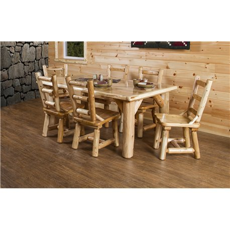 dining table set 6 chairs patterned club chair rustic white cedar log 84 with 8 4 or