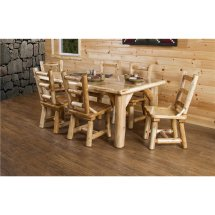 """Rustic White Cedar Log 84"""" Dining Table Set With 8 Chairs"""