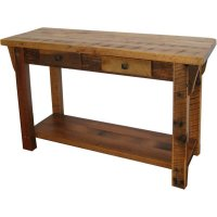Rustic Barn Wood Sofa Table with Shelf
