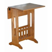 Mission Style Double Drop Leaf Oak Accent Table with ...