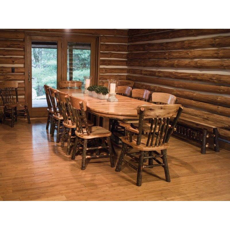Rustic Hickory Double Pedestal Solid Top Oval Dining Table