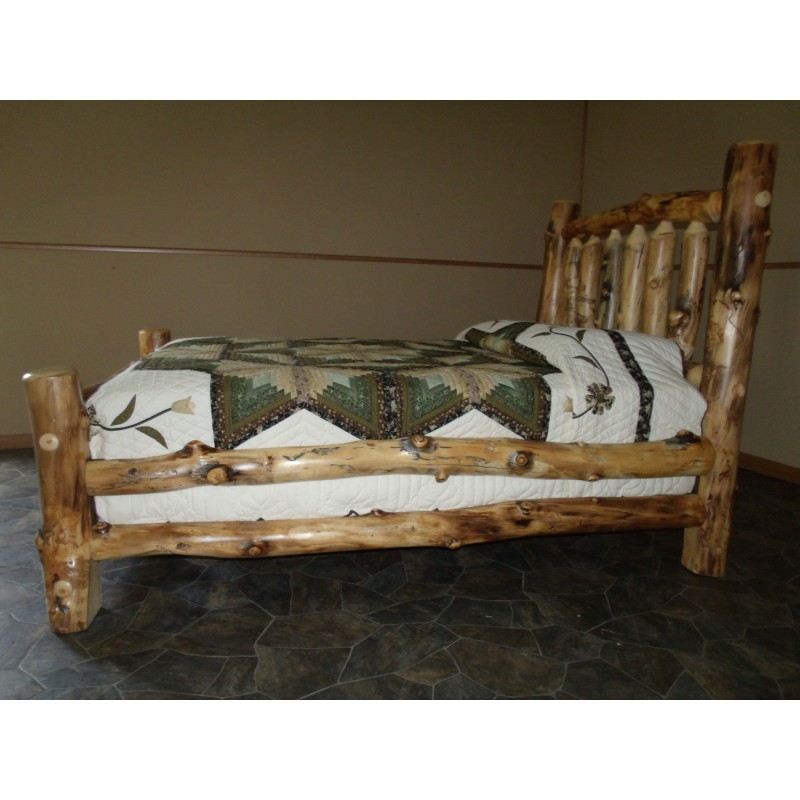 Rustic Aspen Log Bedroom Set Includes Bed Armoire