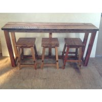 Reclaimed Barn Wood Breakfast Bar Set - Bar Height