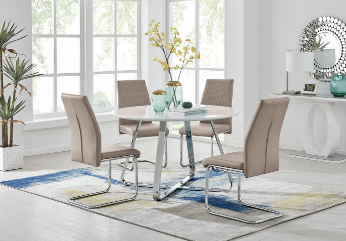 Furniturebox Uk Santorini Brown Wood Contemporary Round Dining Table Set And 4 Chrome Leather Modern Lorenzo Dining Chairs Dining Table Only Home Kitchen Dining Room Furniture Mymobileindia Com