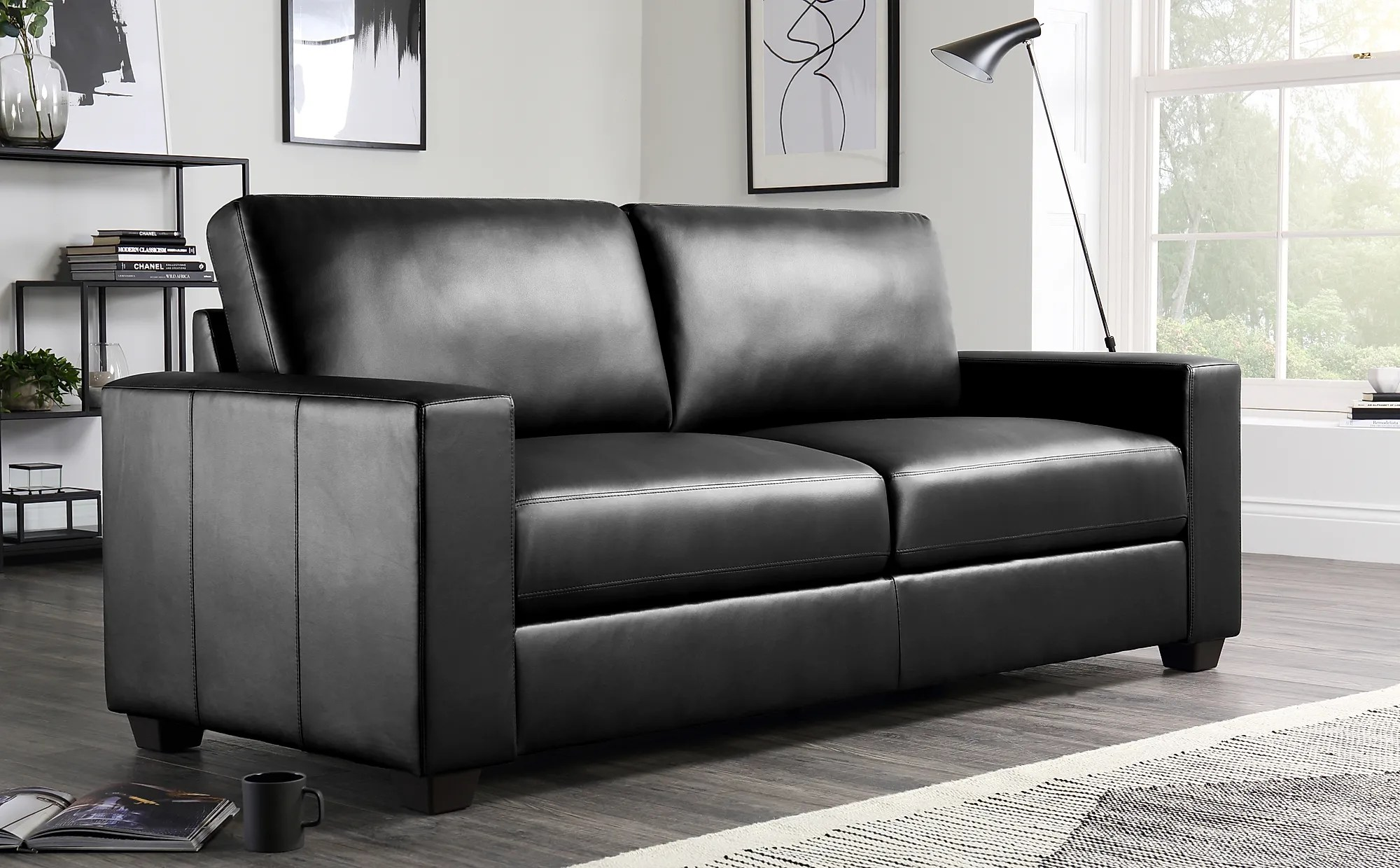 3 seater sofa black leather outdoor glider replacement cushions mission only 399 99 furniture choice gallery