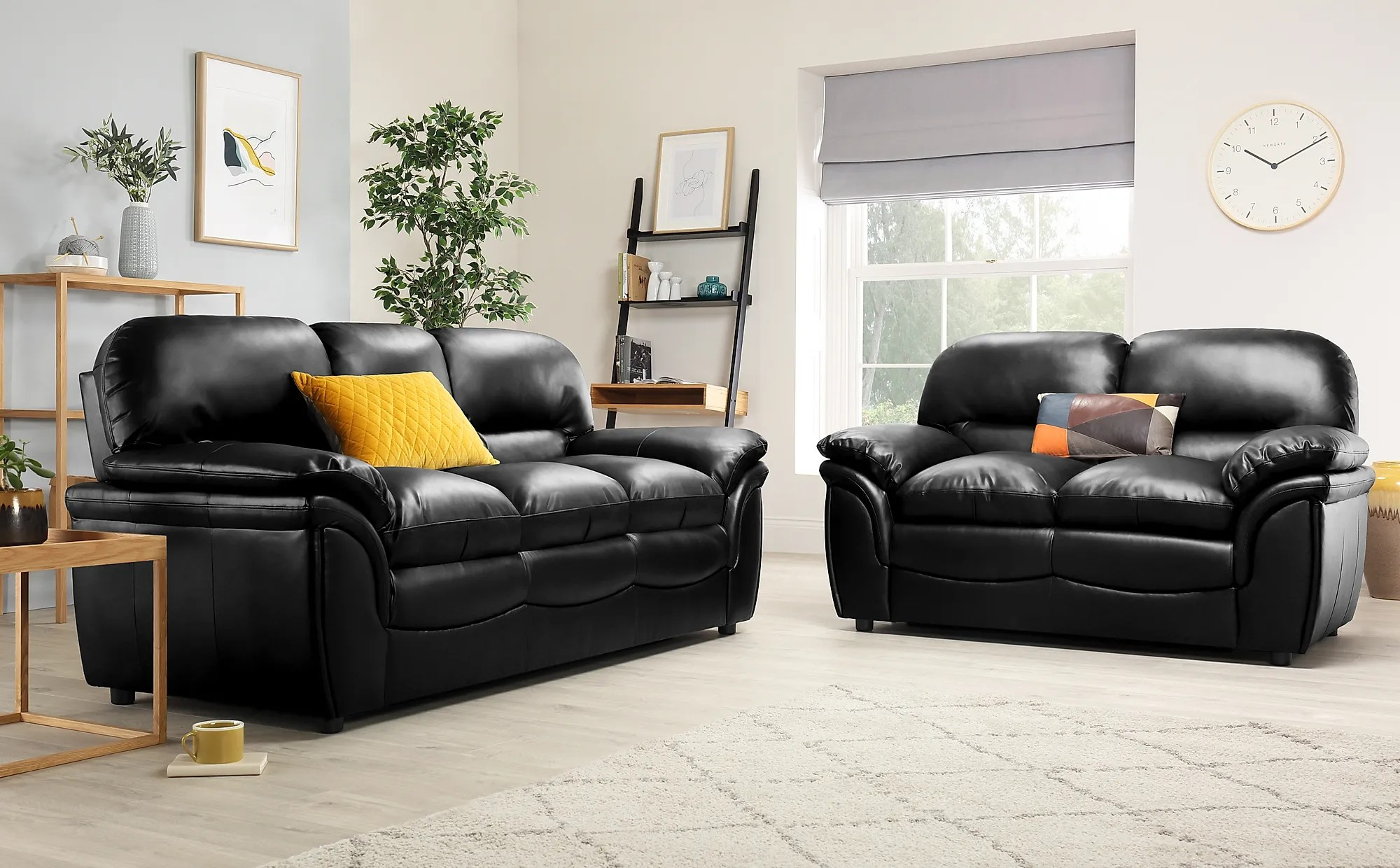 Rochester Black Leather Sofa Suite 32 Seater Only 74998